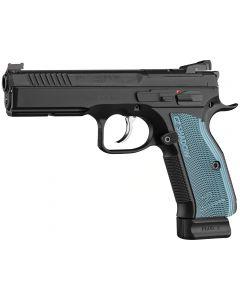 "CZ Shadow 2 Optics-Ready Pistol 9mm Luger 4.89"" Barrel Black Slide Blue Grips 19-Round 91251"